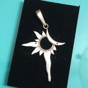 Accessories - 925 Sterling Silver Solid Eclipse Pendant.